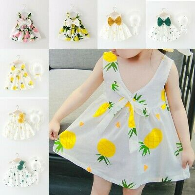 Baby Girls Floral Dress 12 18 12 Mths 2 3 Yrs Kids Bow-tie Party Clothes Summer