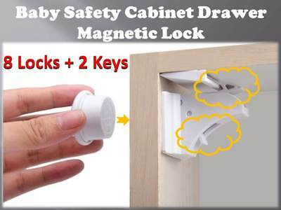 Invisible Magnetic Baby Child Pet Proof Cupboard Door Drawer Safety Lock 8 locks