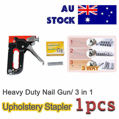 HEAVY DUTY STAPLE GUN TACKER UPHOLSTERY STAPLER plus 900 Nails Fastener/Tool Kit