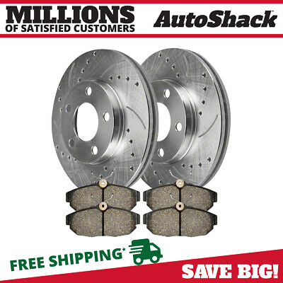 Rear Drilled&Slotted Performance Silver Rotors and Ceramic Pads Set