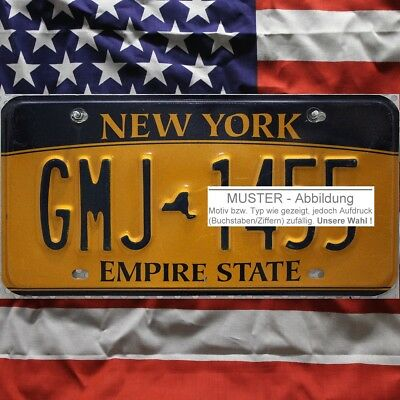 -1- NEW YORK Nummernschild . EMPIRE STATE Kennzeichen . (Optional USA Deko Tuch)