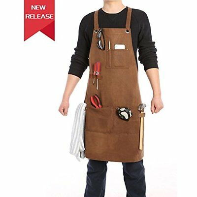 Waxed Canvas Heavy Duty Work Apron With Cross-back Straps/Quick Release Loops