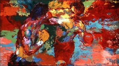 Hand-Painted Oil Painting Canvas art wall decor LeRoy Neiman rocky vs apollo 48