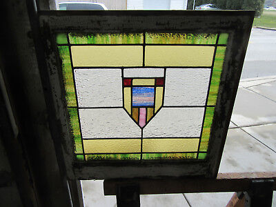 ~ Antique American Stained Glass Window ~ 24 X 24 ~ Architectural Salvage