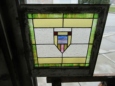 ~ Antique American Stained Glass Window ~ 24 X 25 ~ Architectural Salvage