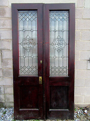 ANTIQUE STAINED GLASS DOUBLE ENTRANCE FRENCH DOORS 48 x 89 ARCHITECTURAL SALVAGE