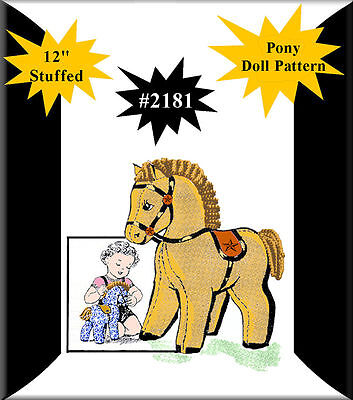 "#2181 Vintage Pony Rag Doll Horse Stuffed Animal Toy Pattern  ~ 12"" Tall"