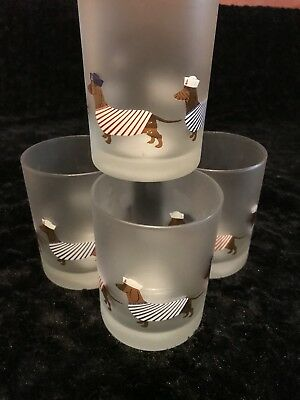 NEW Set of 4 Dachshund Double Old Fashioned Frosted Glasses Drinking Doxie Dog