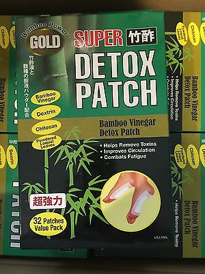 32 pack GOLD Foot Detox Super Bamboo Power Chi Vinegar Detox Toxin Patch New