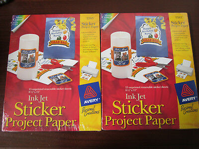 """2 Packs Avery Ink Jet Sticker Project Paper Matte Coated 8.5"""" x 11"""" ~ 30 Sheets"""