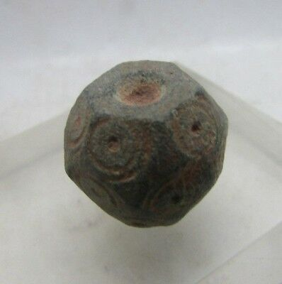 Rare Ancient Byzantine Multi Sided Bronze Weight With Ring And Dot Motifs 14.5G