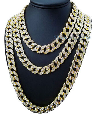ALL SIZE CHAIN Iced Out 14k Gold Silver Plate Cuban Choker Necklace lab diamond