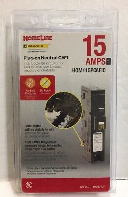 New! Square D Homeline Hom115Pcafic 15A Plug In Arc-Fault Combination Breaker