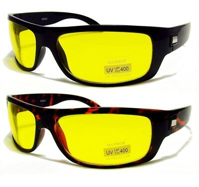 cab326d1ff8 HD High Definition Vision Driving Sunglasses WrapAround Yellow Night Glasses  NEW