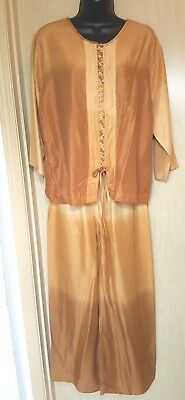 Gold Brown Top Pants Lounge Set S-M Ethnic Lace Front Adjust. Waist Pants Silky
