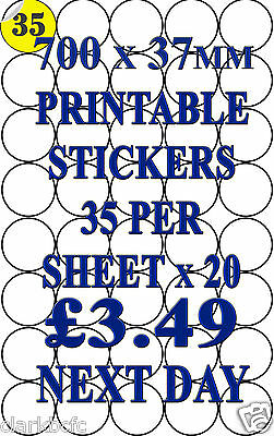 20 sheets 700 Round Label 37mm Circle Blank A4 Permanent Printable Peel Stickers
