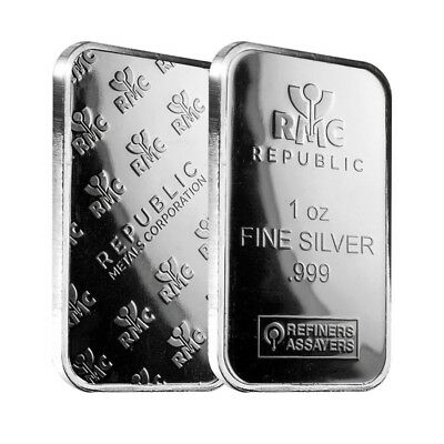 Lot of 2 - 1 oz Republic Metals (RMC) Silver Bar .999 Fine