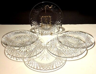 "6 Vintage Waterford Alana Deep Cut Irish Crystal 8"" Luncheon Plates"