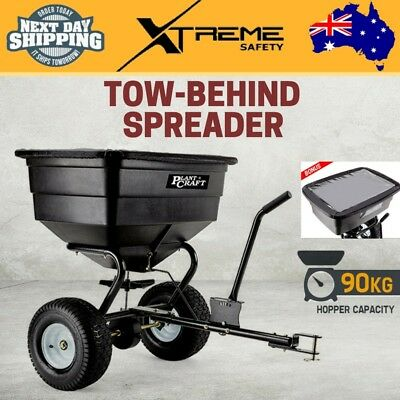 New 90KG Hopper Tow Behind Spreader Broadcast Fertilizer Seeder with Rain Cover