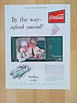 "COCA~COLA 1928 ORIGINAL AD ART ""By the way-refresh youself"" 13 3/4"""" x 10 1/2"""