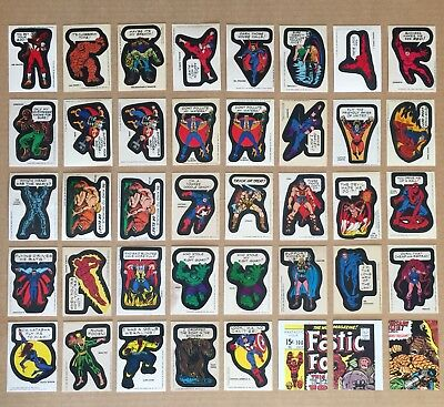 Large Lot Of 40 X Topps 1974/1975 Marvel Comic Book Heroes Sticker & Checklists