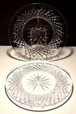 "2 Vintage Waterford Alana Deep Cut Irish Crystal 8"" Luncheon Plates"