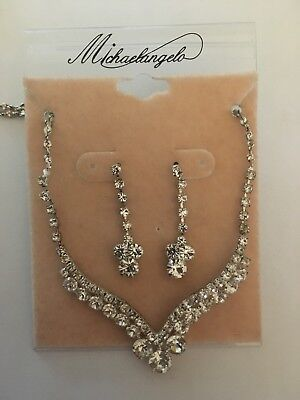Davids Bridal Wedding Jewelry - Silver and Crystal Earrings and necklace
