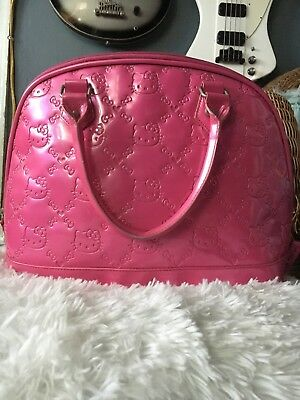 HELLO KITTY LOUNGEFLY Sanrio Patent Leather Embossed Bag (Hot Pink ... ef9f352b22d22