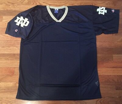 Vintage Champion Notre Dame Fighting Irish Football Jersey 2XL Blue And Gold XXL