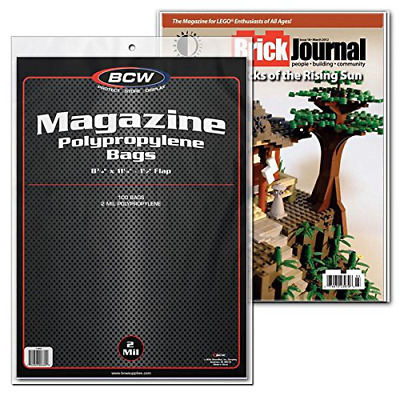 "100 2mil Acid Free Archival Safe Polypropylene Magazine Bags W/ 1.5"" Flaps Clear"