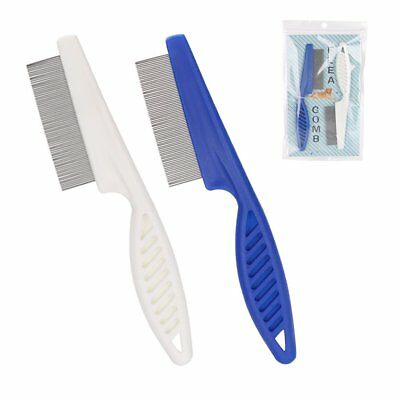 2 for $6.19 - Blue or White Pet Dog Hair Flea Stainless Pin Cat Grooming Comb