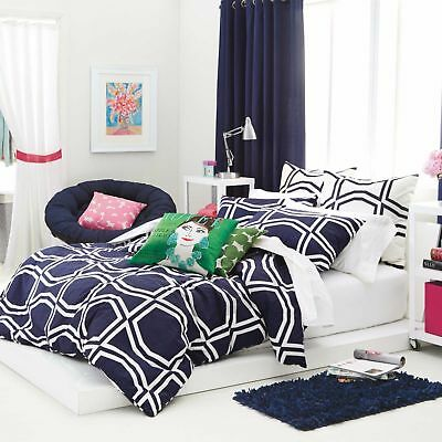 New Kate Spade New York Comforter Set Twin Twin Xl Bow Tile Navy
