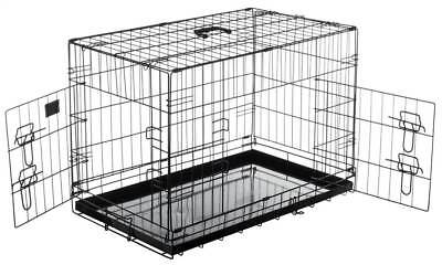 Double Door Folding Pet Crate Kennel Cage in Black [ID 3494154]