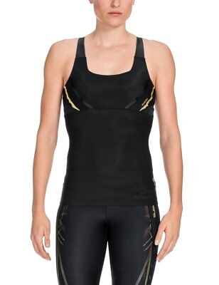 SKINS Women's A400 Compression Tank Top, Black/Gold, X-Large