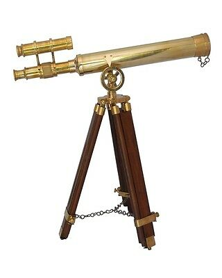 """Navy Brass Double Barrel Telescope18"""" With Wooden Tripod Stand"""
