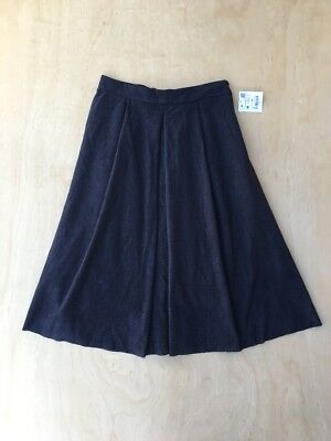 NEW Zara Navy Faux Suede Perforated Pleated Mid Calf Skirt Size M NWT A79