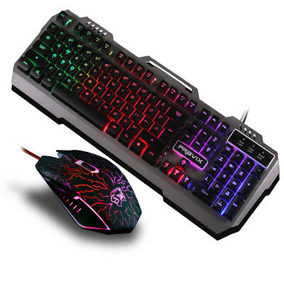 3c4d2b25105 Colorful Illuminated Backlit USB Wired Pro Gaming Black keyboard and Mouse  set