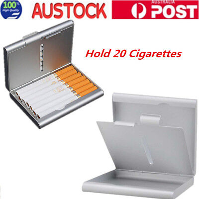 Silver Thin Slim Pocket Cigarette Tobacco Storage Box Pouch Holder 20 Cigarettes