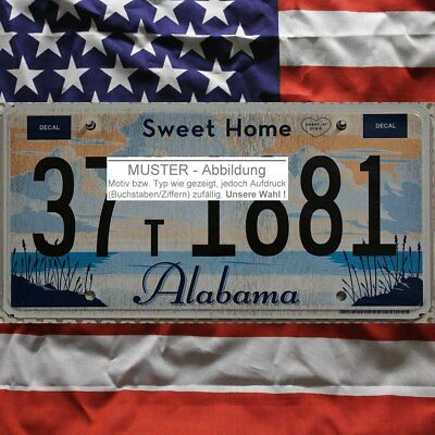 -1- ALABAMA Nummernschild # US Kennzeichen SWEET HOME # (Optional USA Deko Tuch)