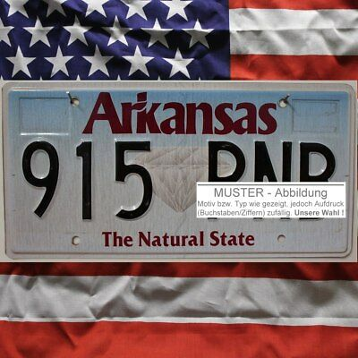 -1- ARKANSAS Nummernschild ~ Kennzeichen Metallschild ~ (Optional USA Deko Tuch)