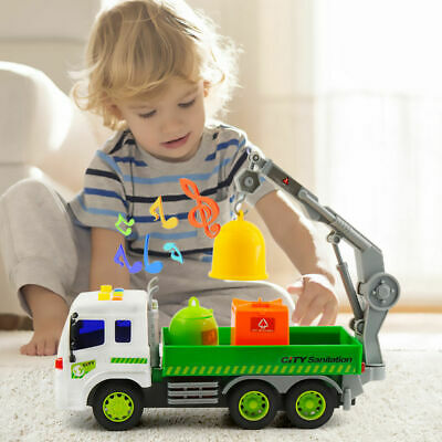 Xmas Gifts Garbage Truck Bin Lorry Light & Sound Rubbish Recycling Toy UK