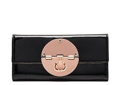 MIMCO Large Turnlock Wallet  Black Patent Leather Rose Gold RRP $199 BNWT