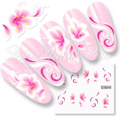 Flowers Nail Decals Water Stickers for Long Nails, Swirls Spirals Pink or Purple