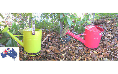5 Litre Metal Watering Can Stinless Steel & Brass Trims Red Green