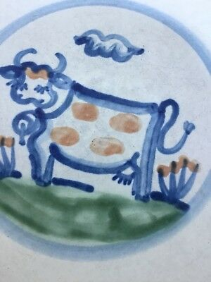 MA HADLEY American Pottery COUNTRY WARE FARMHOUSE PLATE Hand Painted COW