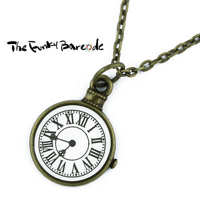 TFB - BRONZE CLOCK FACE NECKLACE Quirky Alice Novelty Retro Funky Cool Time Tick