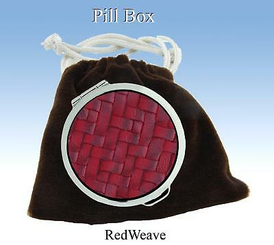 Pill Box by Stratton of Mayfair.Embossed Red Leather Weave & Silver Metal Casing