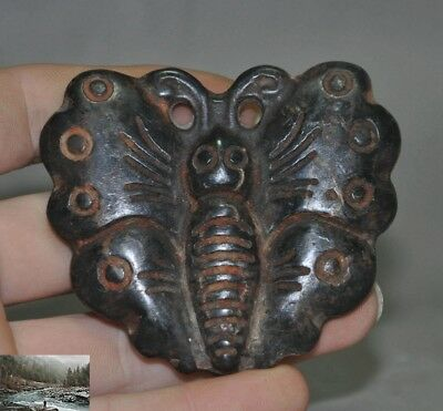 China Hongshan culture Old jade carving butterfly statue talisman amulet Pendant
