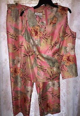 Dressbarn Woman Outfit 14W sleeveless shell pants tropical pink/peach polyester