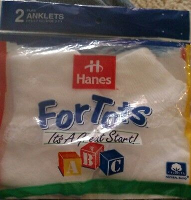Vtg HANES 2 pairs For Tots anklets  size 3-11. Nos